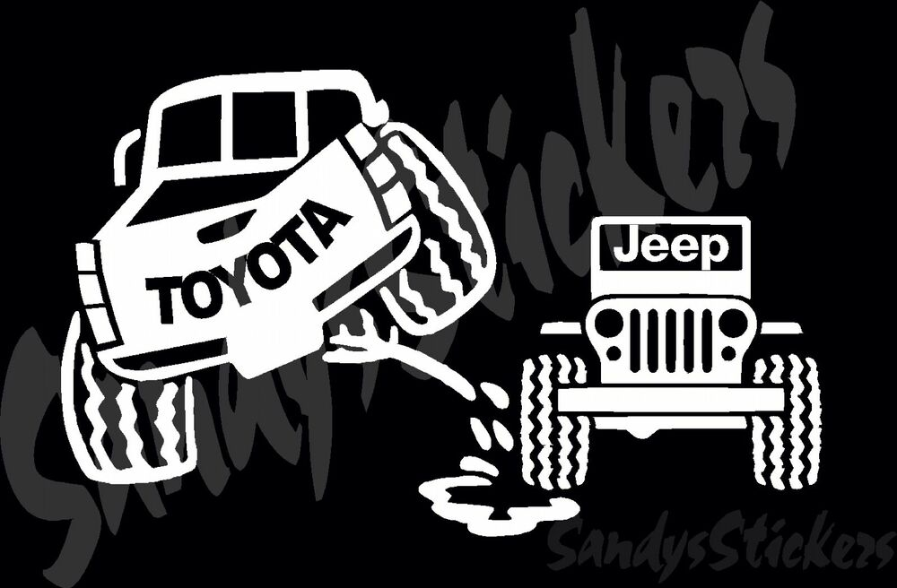 Sticker 4x4 toyota - Toyota Peeing On Jeep Sticker Decal Tundra Tacoma