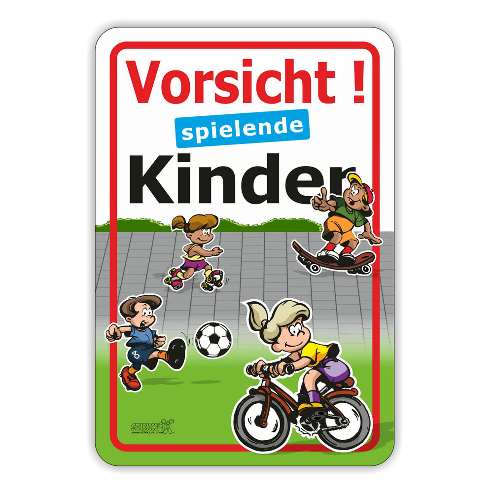hinweisaufkleber warnhinweis vorsicht spielende kinder 3 st ck 30 x 44 cm ebay. Black Bedroom Furniture Sets. Home Design Ideas