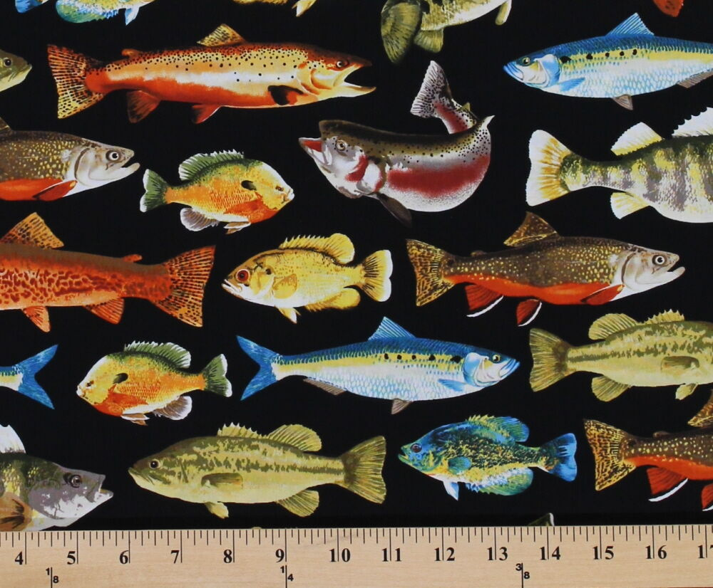 Multi fish mounted animal black cotton fabric print by the for Fish fabric by the yard