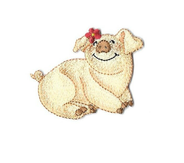 Pig farm animal piglet embroidered iron on applique