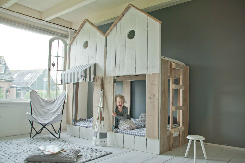 kinderbett bauholz hochbett strandhaus 2x sofort verf gbar ebay. Black Bedroom Furniture Sets. Home Design Ideas