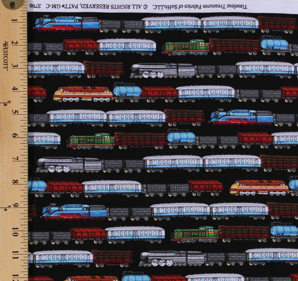 Cotton trains row black passenger freight fabric by the for Train fabric by the yard