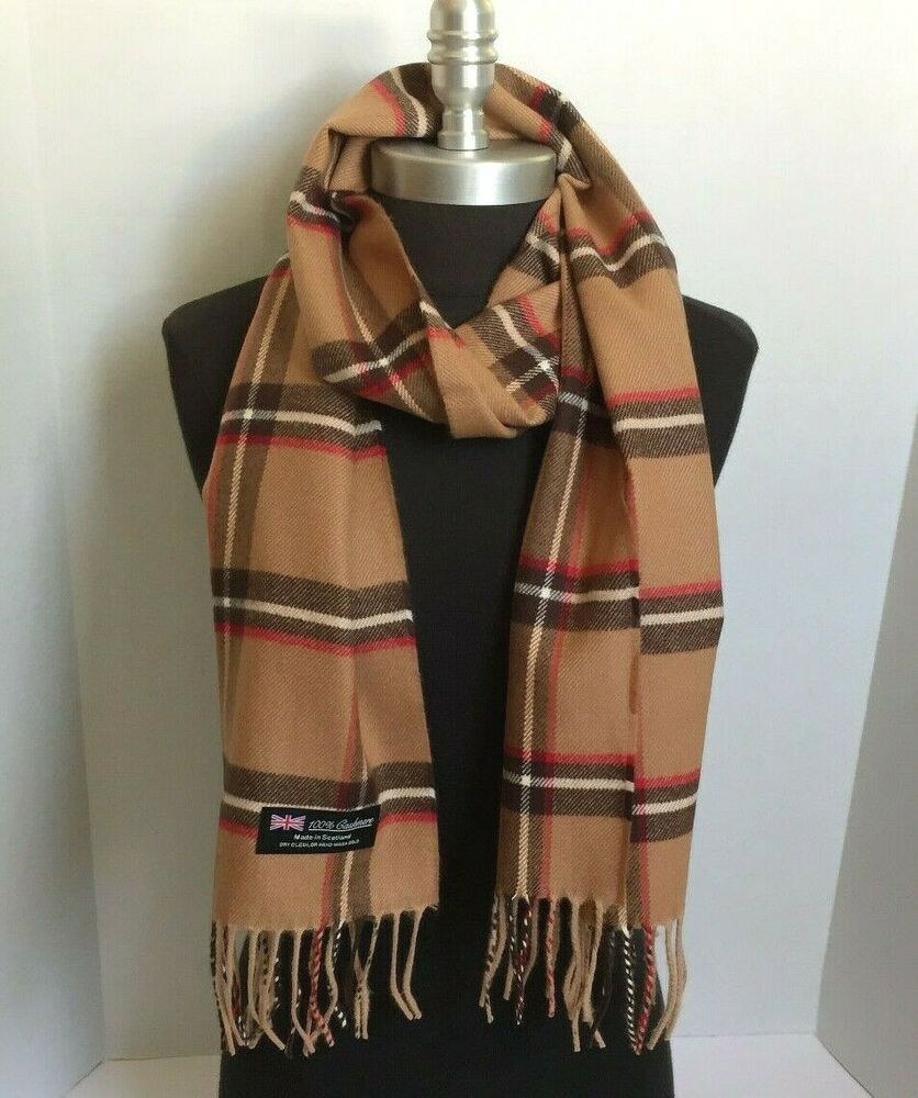new fashion 100 scarf camel check plaid scotland