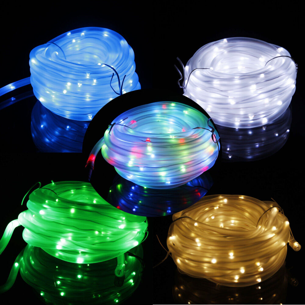 Led Tube String Lights : 39.4Ft Solar Power Rope String Light 100 LED Fairy Tube Ourdoor Xmas Garden Lamp eBay