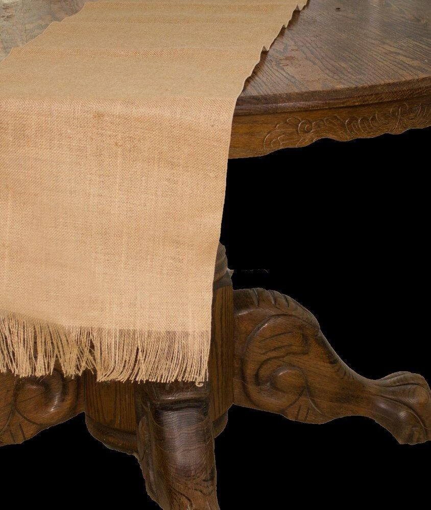 Fringe ends 13 wide x 120 long jute burlap table for 120 table runners