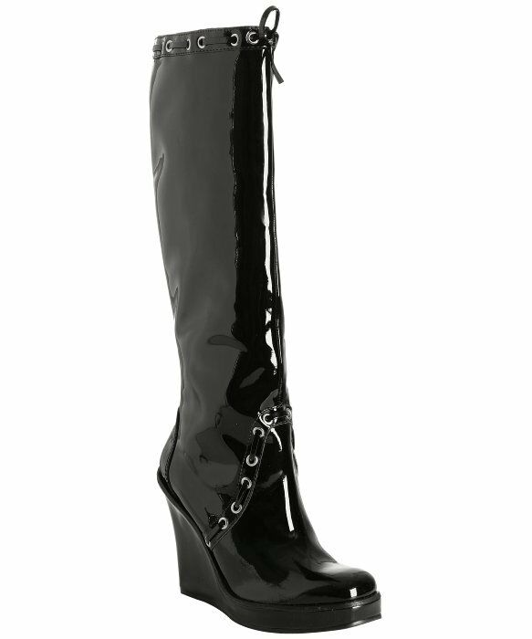 michael kors womens knee high patent leather wedge boots