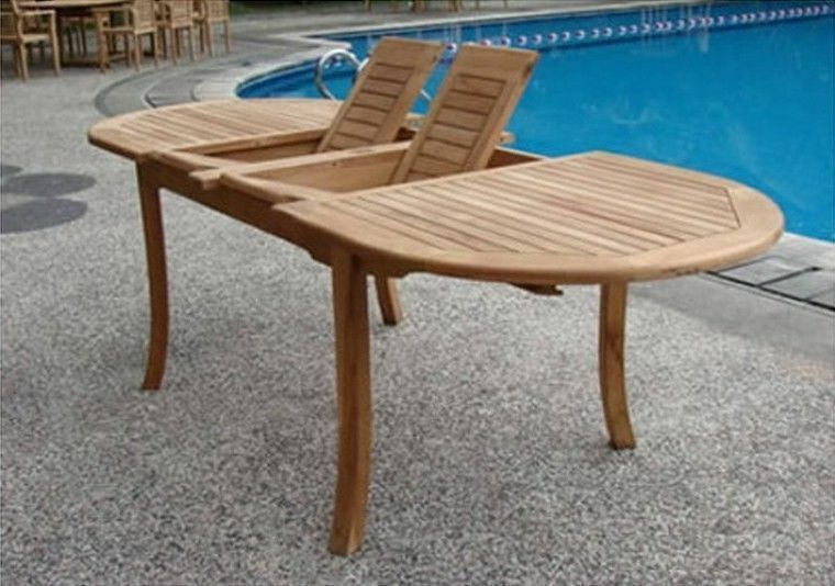 94 oval table a grade teak wood garden outdoor dining for Poolside table and chairs