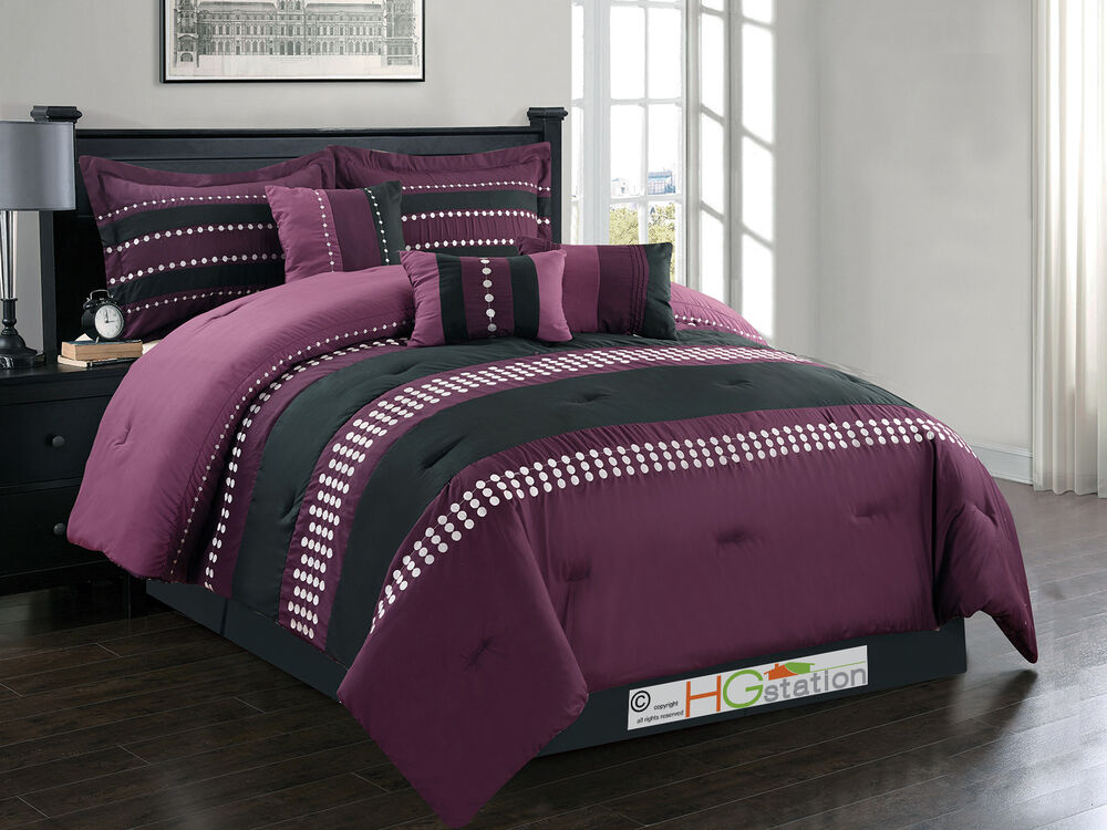7-Pc Circle Polka Dots Striped Embroidery Comforter Set