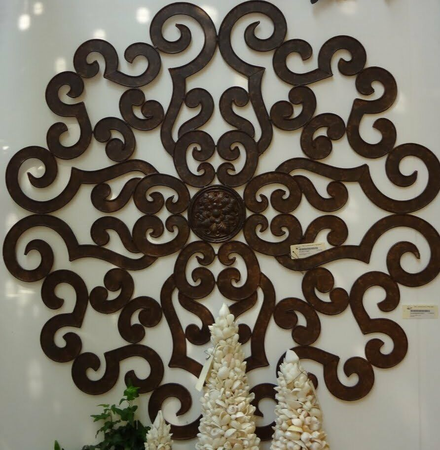 Outdoor Wall Art Metal Scroll : Quot large brown scroll wall medallion round art metal