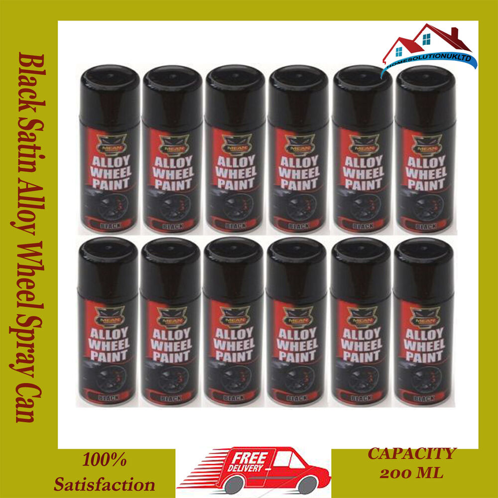 12 x 200ml black satin alloy wheel spray can restorer car bike auto spray paint ebay. Black Bedroom Furniture Sets. Home Design Ideas