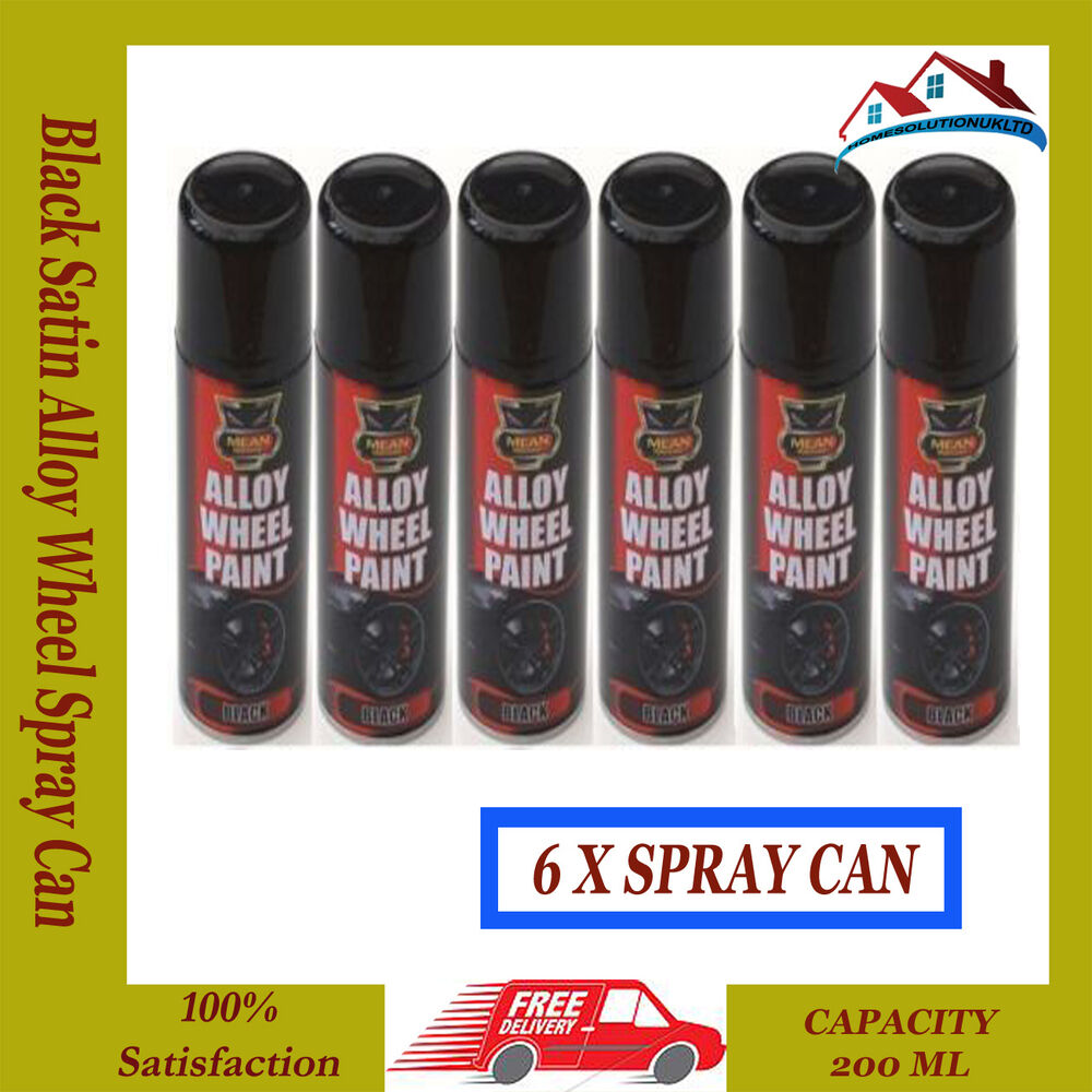 6 x alloy wheel spray can restorer car bike auto paint black satin 200ml ebay. Black Bedroom Furniture Sets. Home Design Ideas