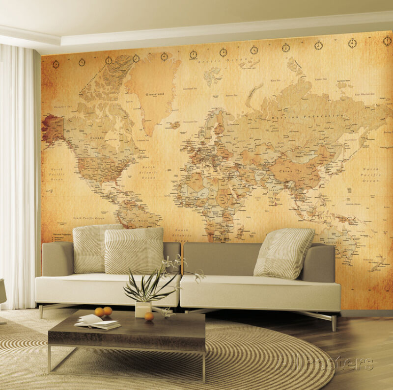 Old Map Wallpaper Mural Sticker 124x91 5 Ebay