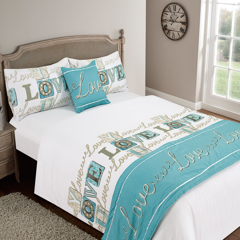Love You Teal Duvet Quilt Set Bed In A Bag Cushion Cover