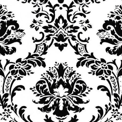Black and white victorian damask wallpaper bk32013 double for Black white damask wallpaper mural