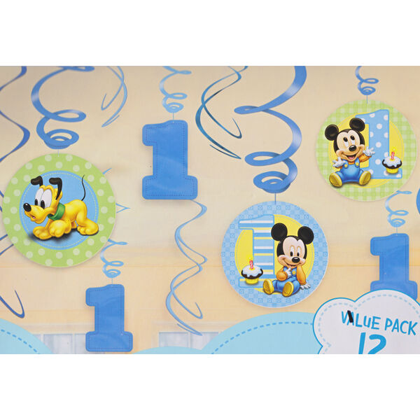 Disney baby mickey mouse swirl hanging decorations 1st for Baby mickey decoration ideas