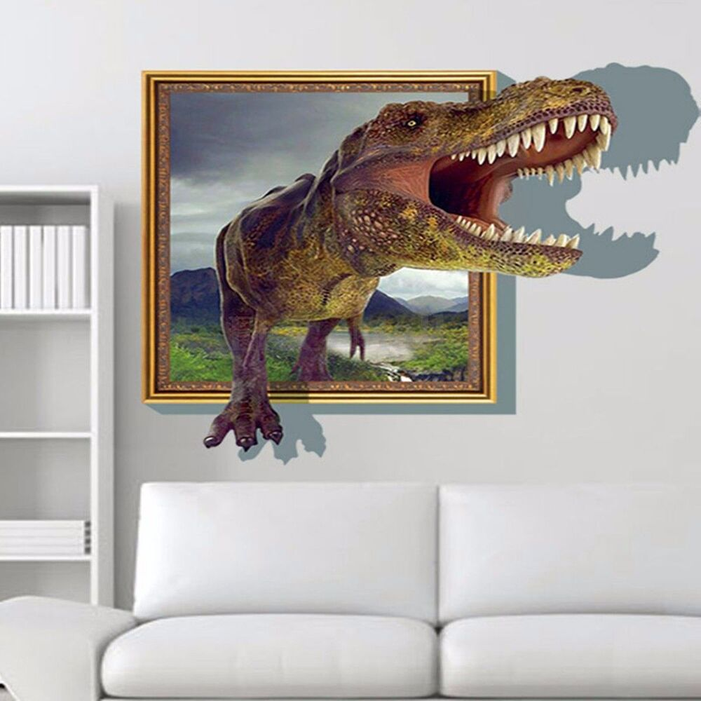 Jurassic park dinosaur 3d wall sticker kids room decal for Sticker mural 3d