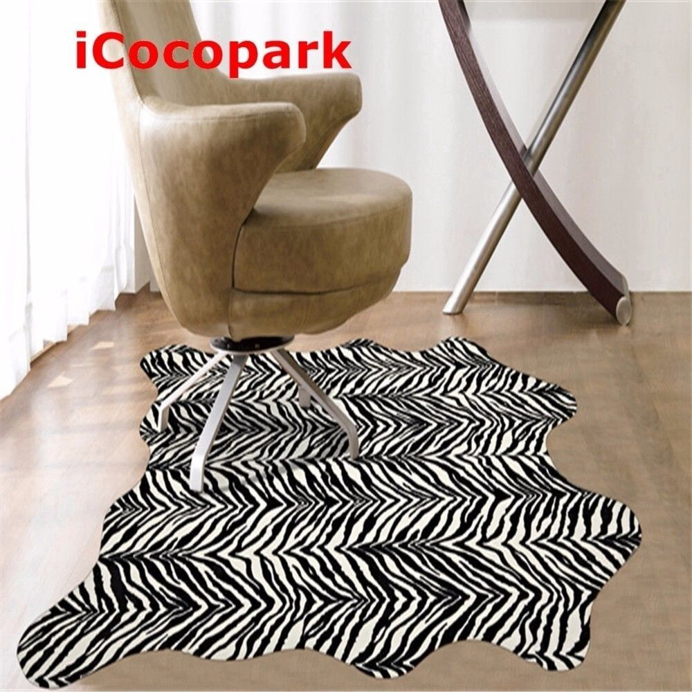 Zebra Print Rug 5.2x4.6 Feet Faux Zebra Hide Rug Animal