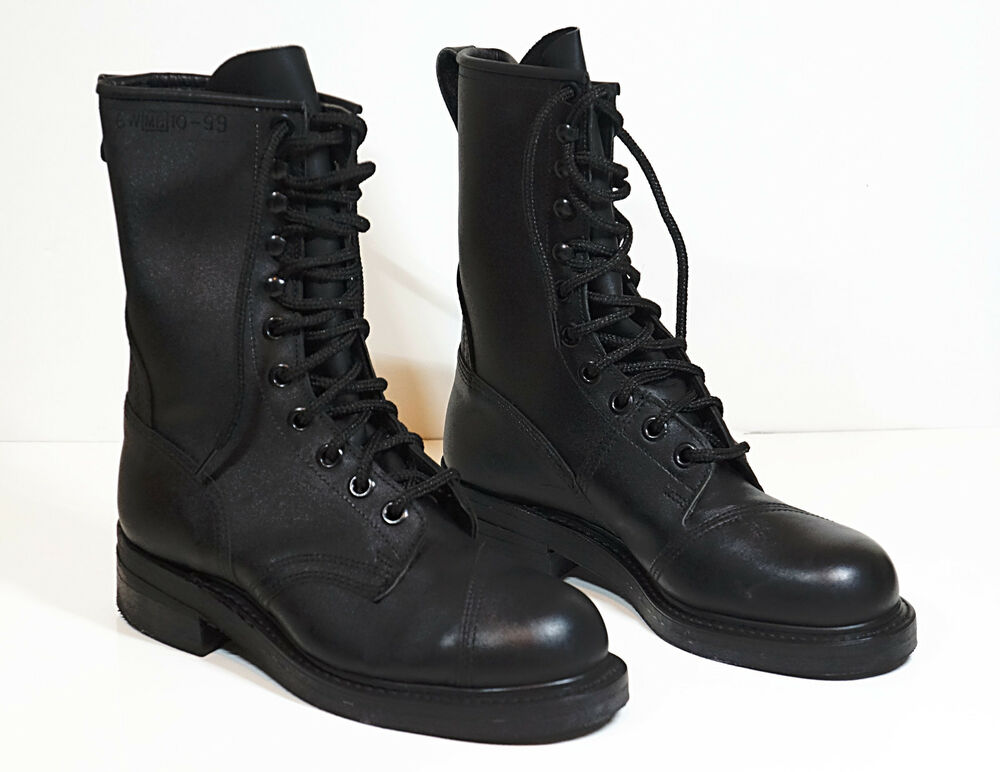 new army leather combat boots black steel toe