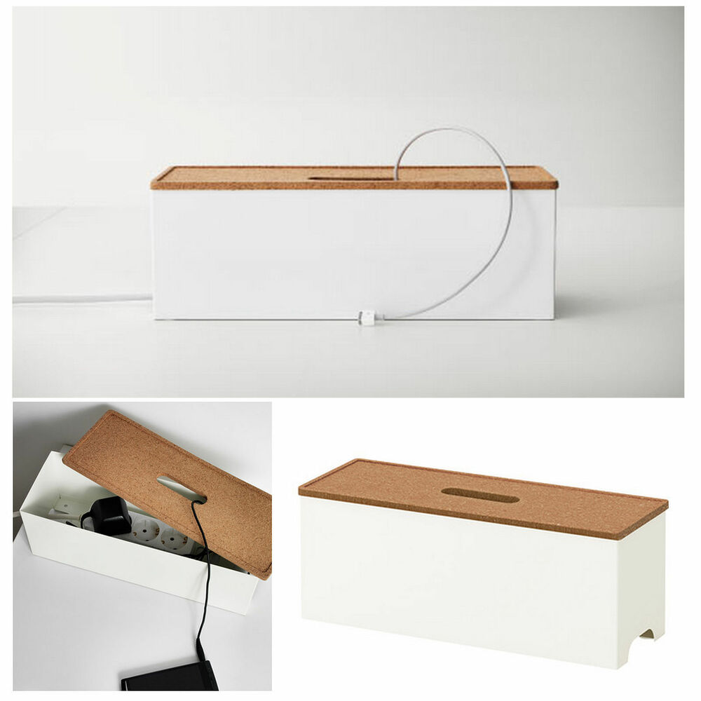 ikea cable management box extension lead charger hide organiser tidy table white ebay. Black Bedroom Furniture Sets. Home Design Ideas