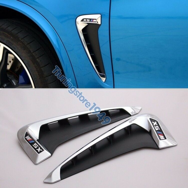 Side Body Marker Fender Air Wing Vent Trim M Cover Chrome