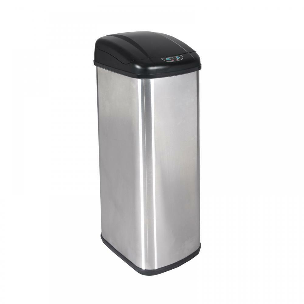Stainless Steel Kitchen Garbage Can: New 13 Gallon Touch-Free Sensor Automatic Stainless-Steel