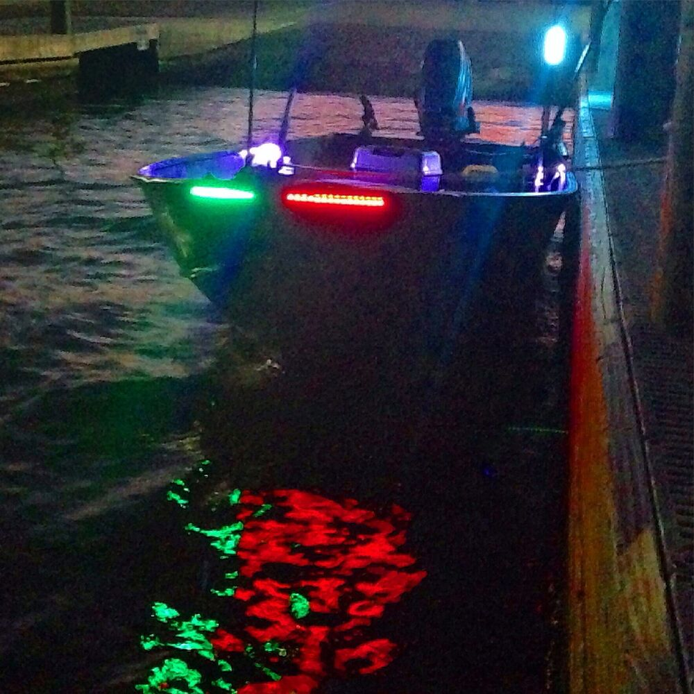 Battery Underwater Led Boat Lights: 4X White Green Red Bow LED 1 Ft Submersible Navigation