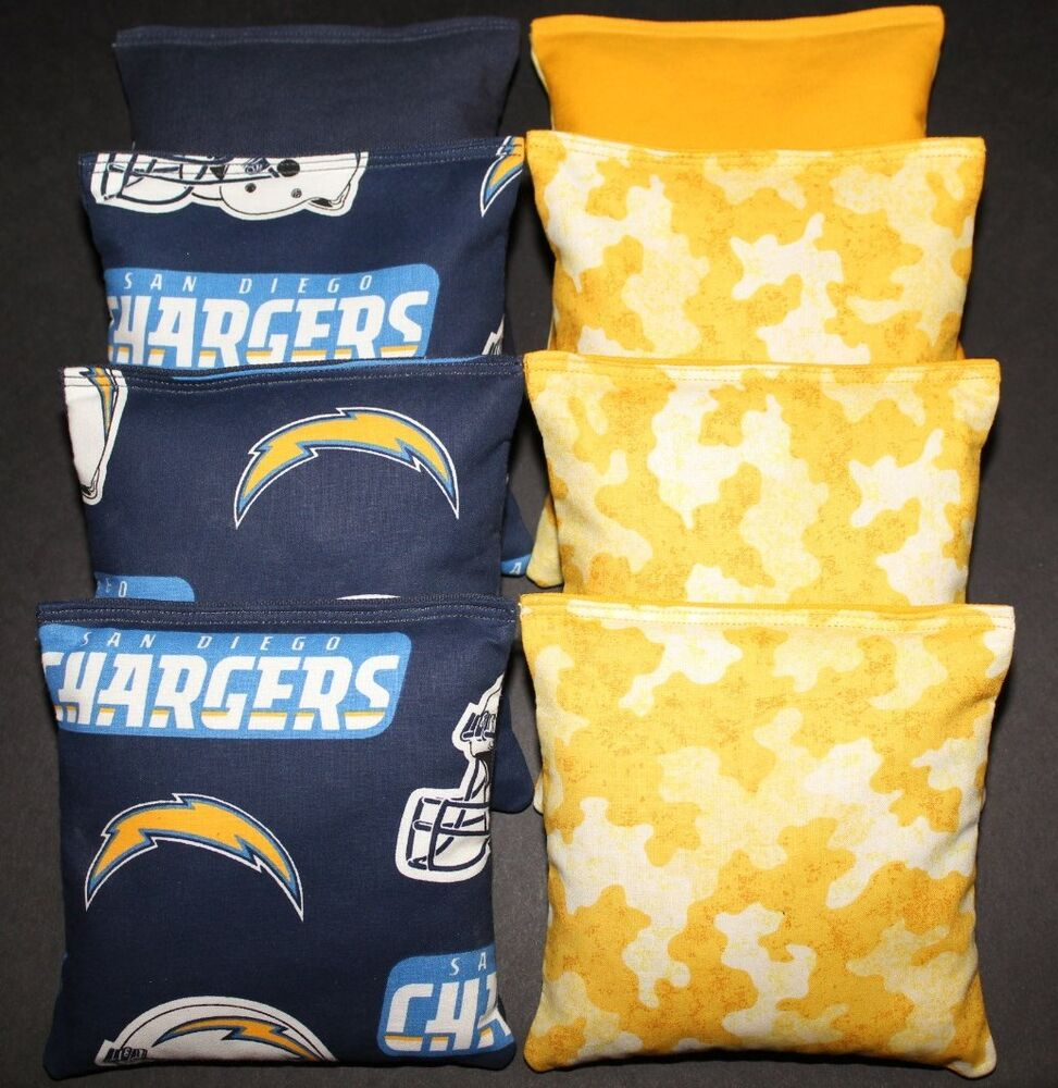 San Diego Chargers Backpack: Cornhole Bean Bags W SAN DIEGO CHARGERS & CAMO Fabric ACA