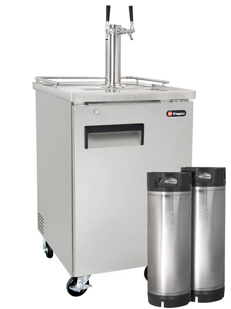 Kegco Commercial Grade Homebrew Kegerator Dual Tap Stainless Steel With Kegs Ebay