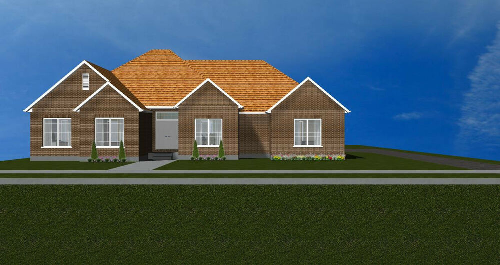 Beautiful 1 story bungalow house plan2276 ebay for Beautiful single story homes