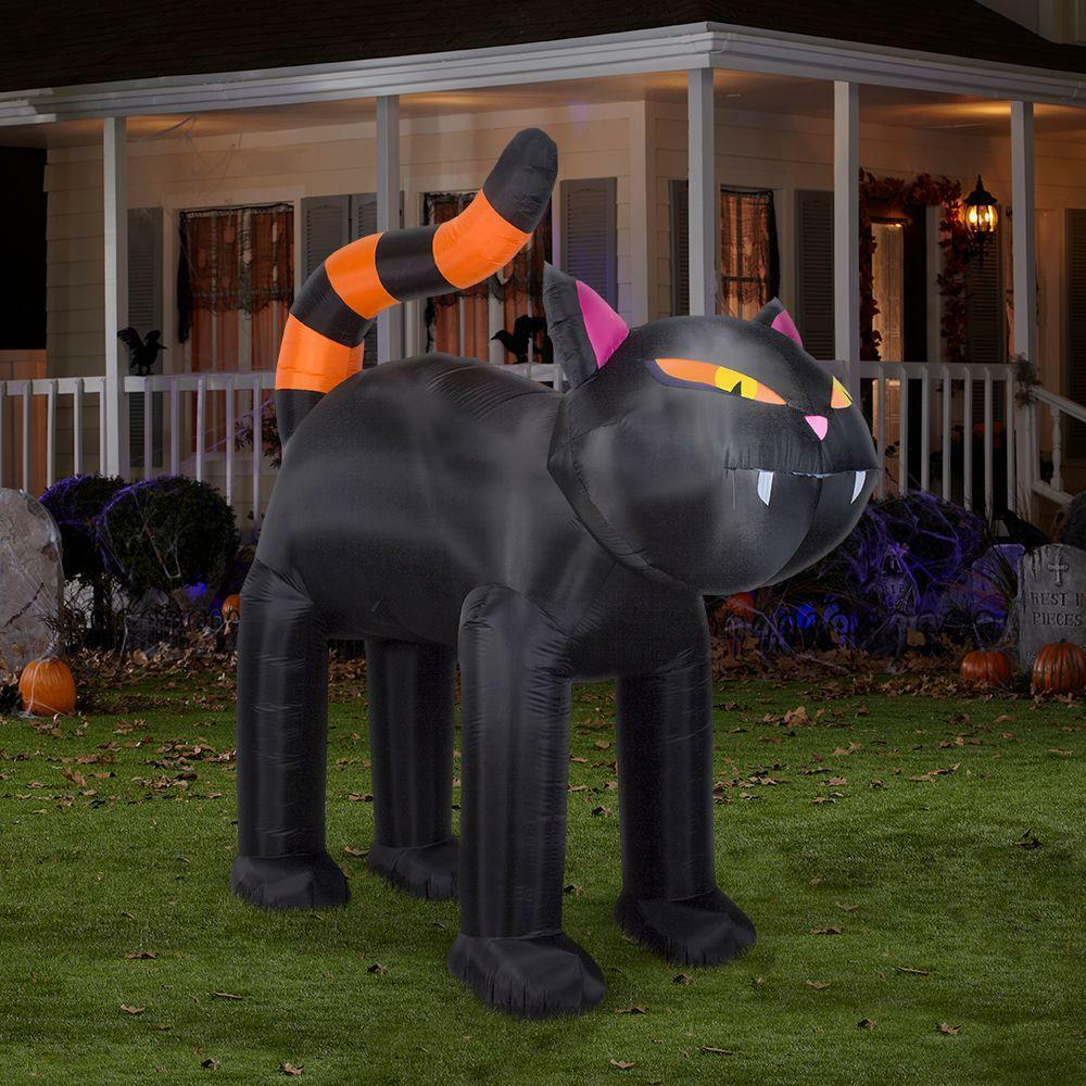 9ft halloween spooky black cat orange stripe tail holiday for Christmas cat yard decorations