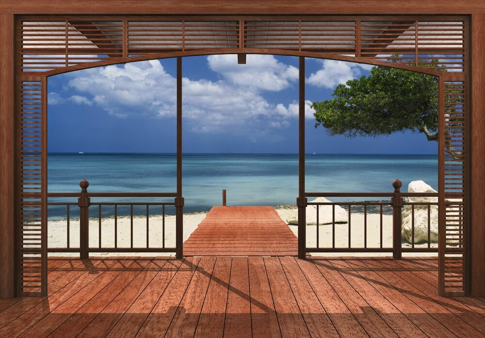 Giant wall mural wallpaper beach and sea view from villa for Beach mural bedroom