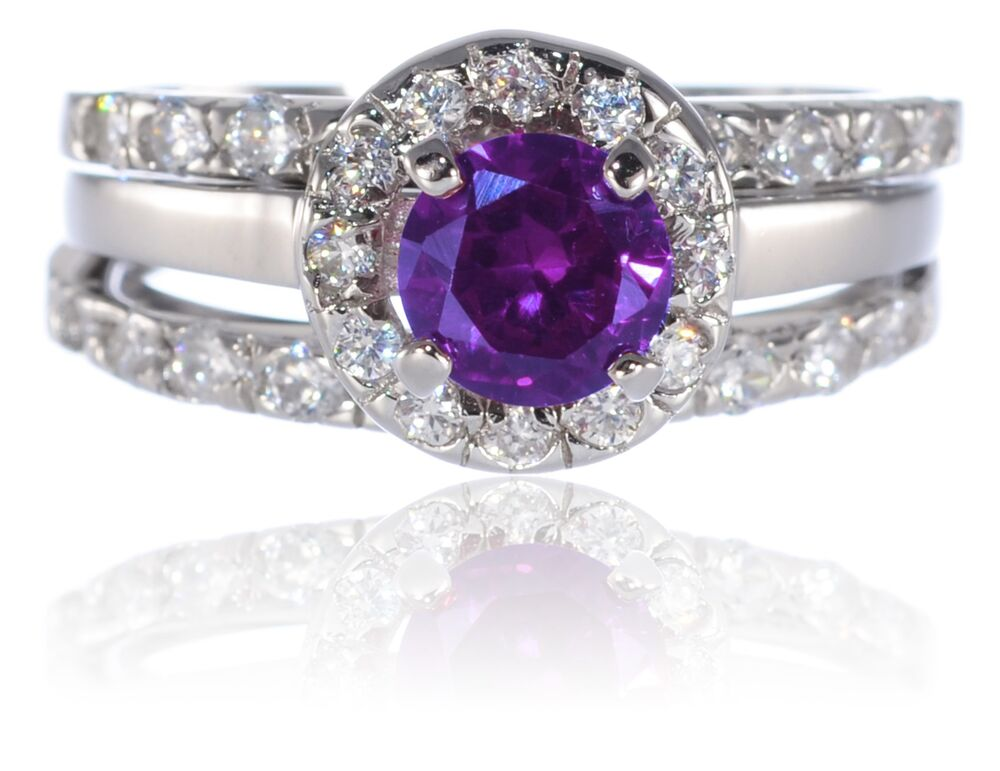 White Gold Sterling Silver Brilliant Amethyst Engagement