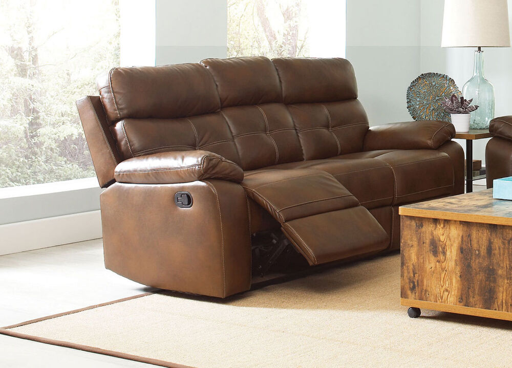 Classy brown leatherette reclining motion sofa living room Reclining living room furniture