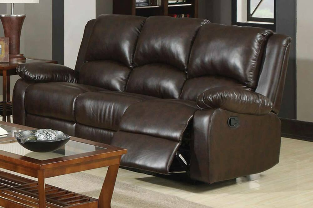 CASUAL BROWN LEATHERETTE RECLINING MOTION SOFA LIVING ROOM FURNITURE EBay