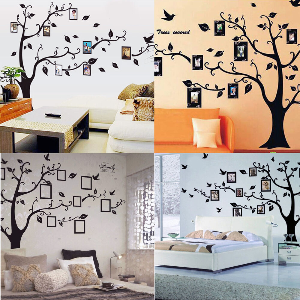 Removable black family tree sticker wall decal vinyl mural for Diy wall photo mural
