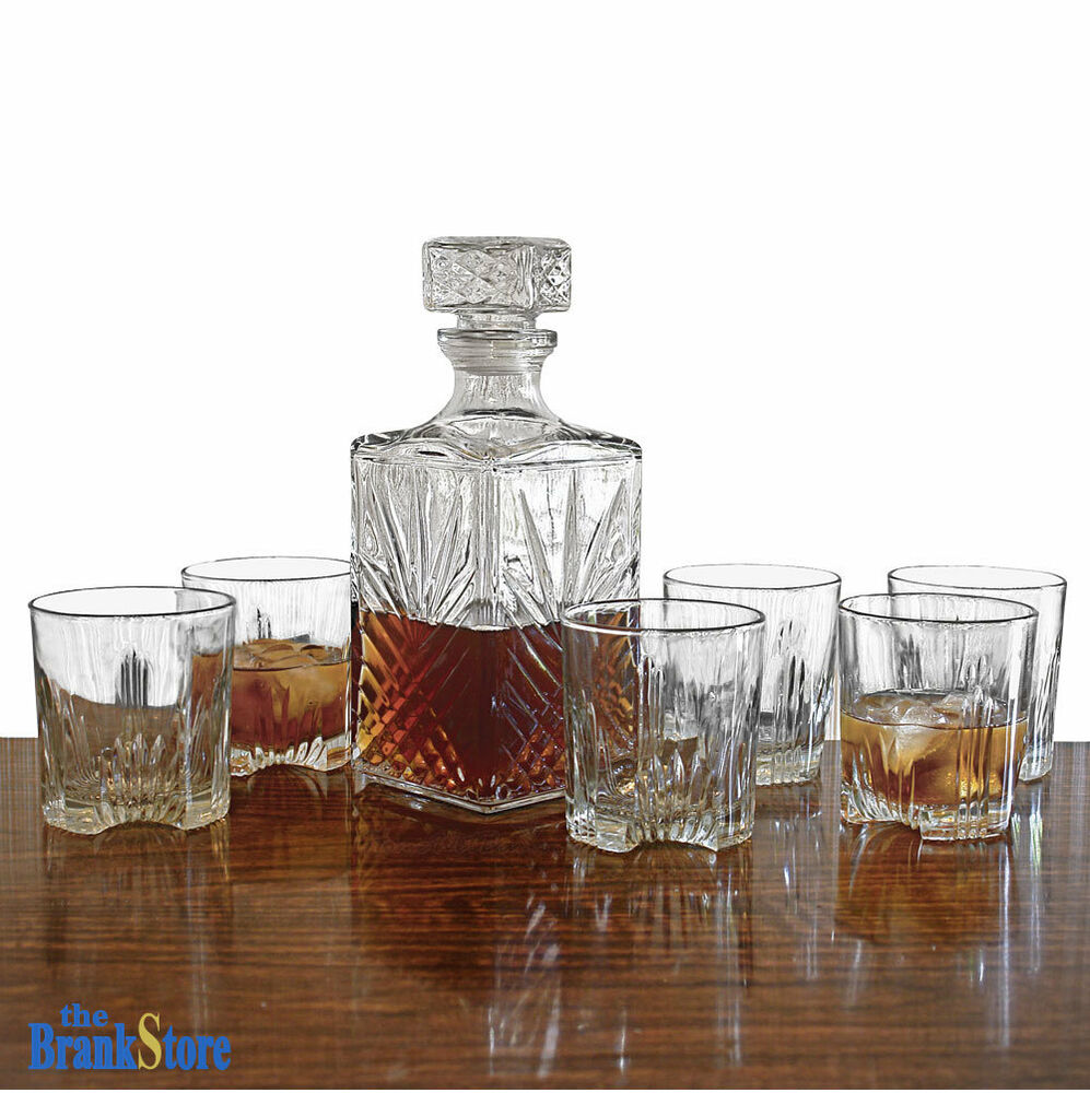 whiskey decanter set glass bottle 6 glasses crystal like liquor wine stopper ebay. Black Bedroom Furniture Sets. Home Design Ideas