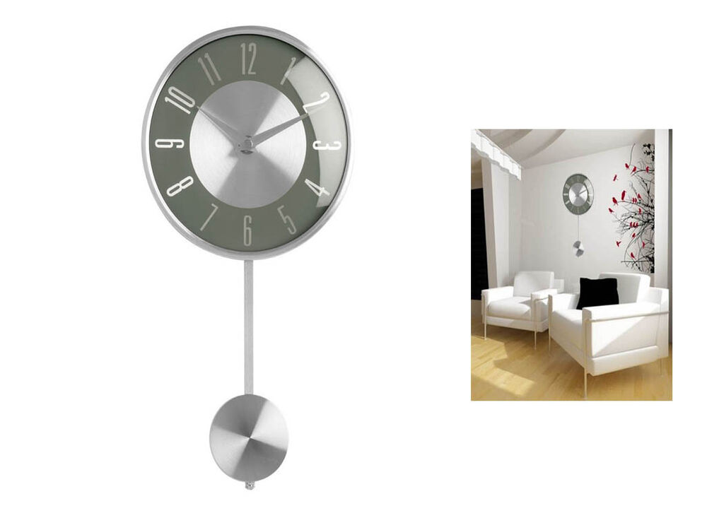 Grey Pendulum Wall Mounted Clock Polished Chrome Effect