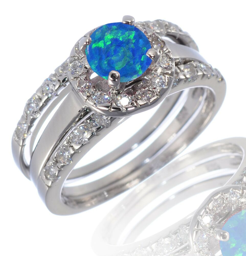 bn blue opal wedding rings White Gold Sterling Silver Round Cut Blue Fire Opal Engagement Wedding Ring Set