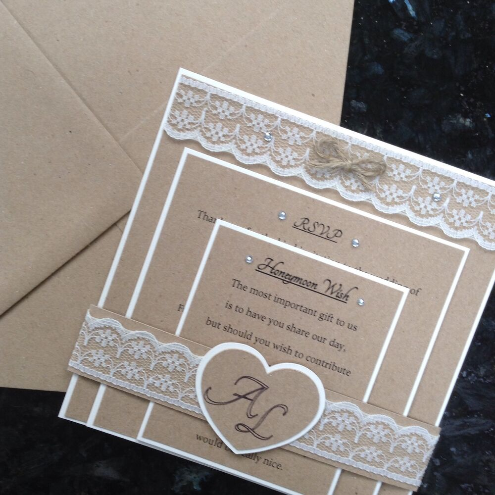 Rustic Vintage Wedding Invitation, RSVP & Insert. Lace And