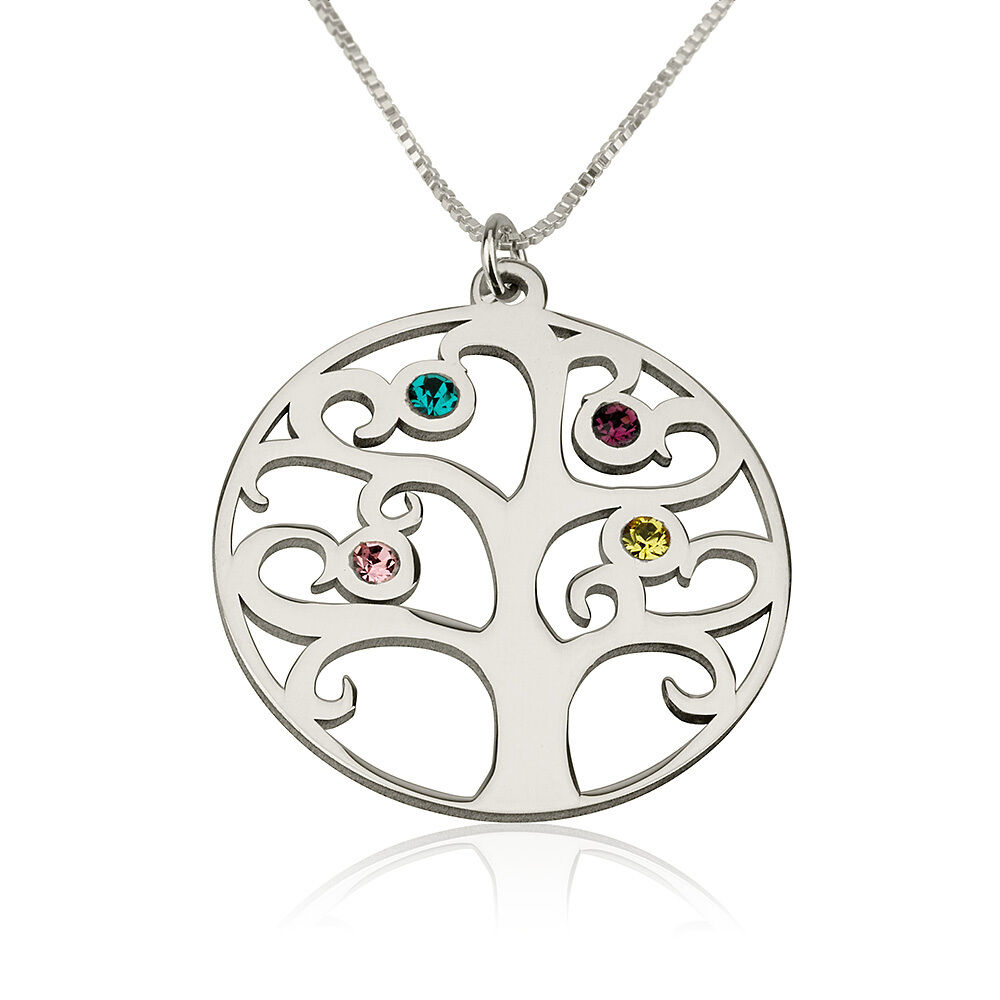 family tree birthstone mother necklace silver tree of. Black Bedroom Furniture Sets. Home Design Ideas