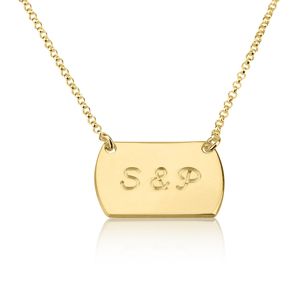 gold chic tag style name necklace personalized