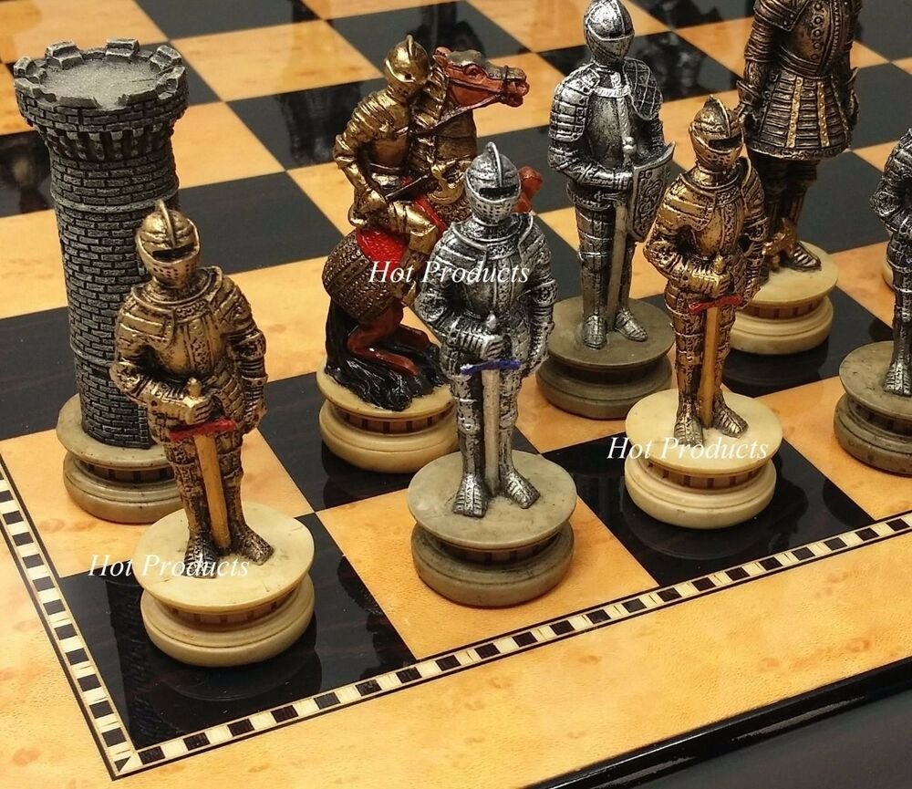 Medieval times crusades warrior knight chess set walnut maple finish board 15 ebay - Medieval times chess set ...