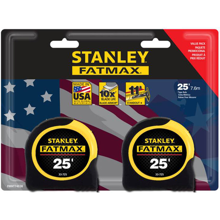stanley fatmax 2 pack 25 39 locking sae tape measures w blade armor usa made new ebay. Black Bedroom Furniture Sets. Home Design Ideas