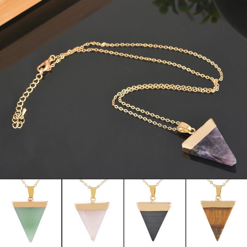 Natural Gemstone Crystal Triangle Pendant Necklace Gold