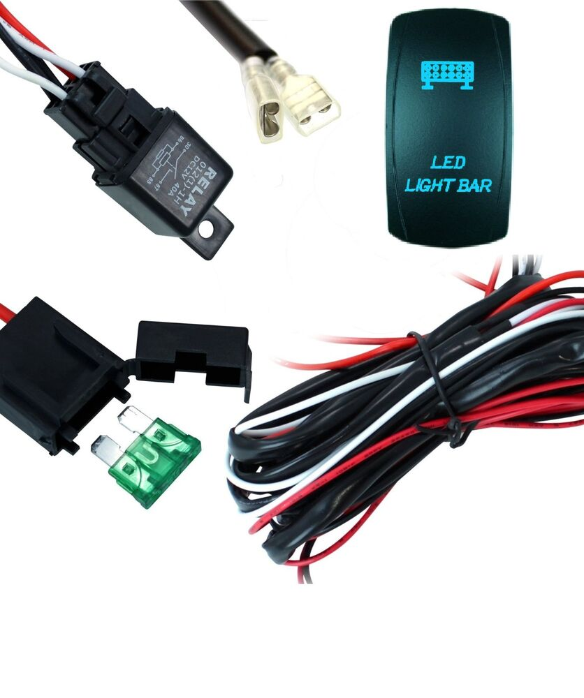 led work light bar wiring harness kit cable with laser etched switch and relay ebay. Black Bedroom Furniture Sets. Home Design Ideas