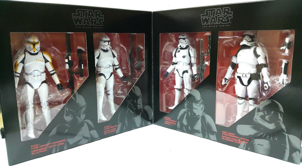 star wars black series 6 clone trooper stormtrooper 4 pack amazon exclusive ebay. Black Bedroom Furniture Sets. Home Design Ideas