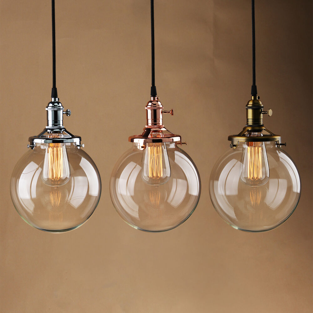 7 9 GLOBE SHADE ANTIQUE VINTAGE INDUSTRI PENDANT LIGHT GLASS CEILING LA
