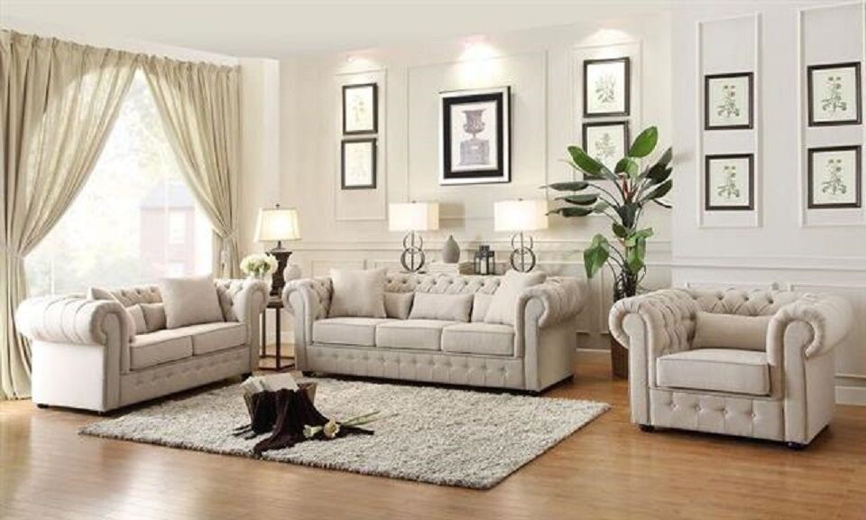 Beautiful beige button tufted sofa loveseat living room - Telas para tapizar sofas ...