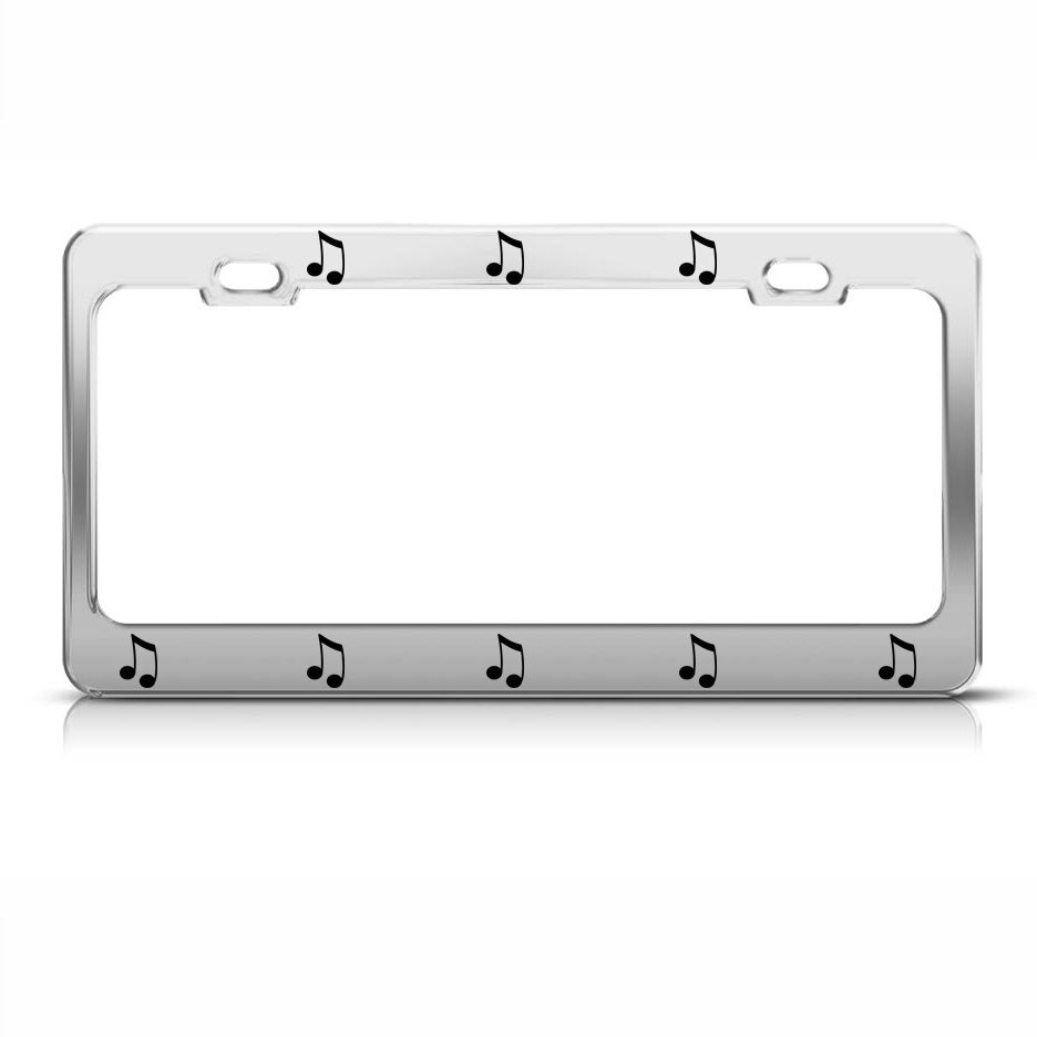Musical Note Chome Metal License Plate Frame Tag Holder Ebay