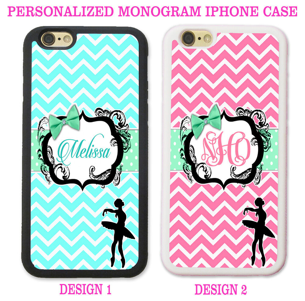 personalized iphone cases blue pink chevron ballerina personalized monogram phone 3116